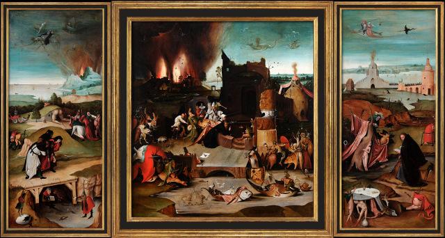 """Hieronymus Bosch, """"Versuchung des heiligen Antonius"""" - Visualisierung mit Rahmen"""